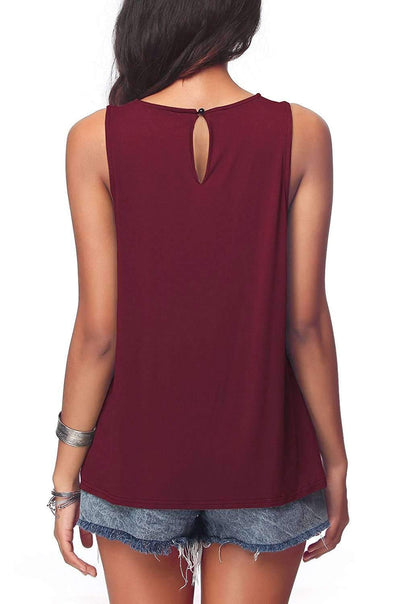 Casual Pure Round neck Sleeveless T-Shirts
