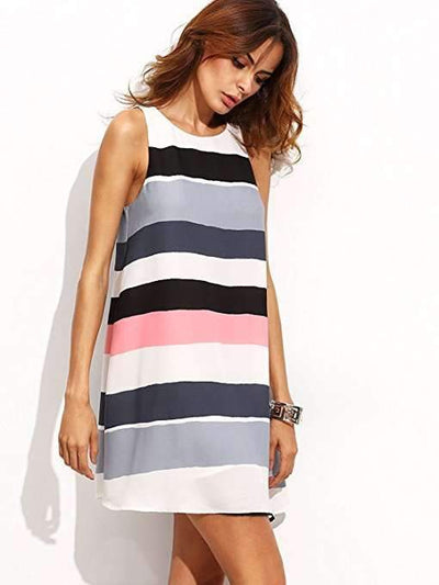 Fashion Sleeveless Stripe Print Shift Dresses
