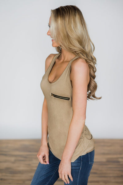 Scoop Neck Sleeveless Zipper Fashion Vest