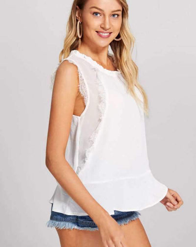 Fashion Gored Lace Round neck Vests