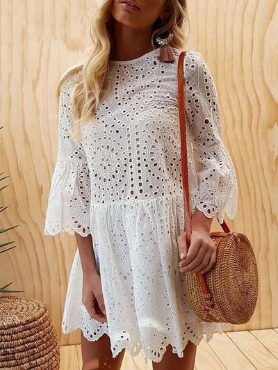 Women Frill Sleeves Casual Elegant Women Cutout Dresses