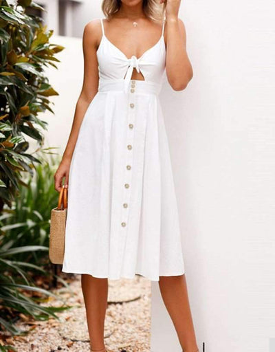 Sling Button Vest Skater Dresses