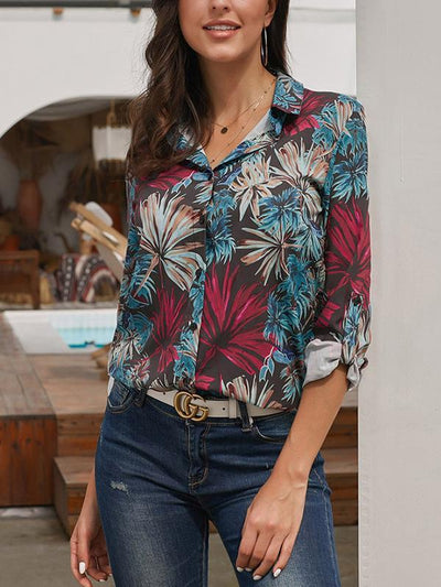 Loose Leave  printed long-sleeve plus-size blouses