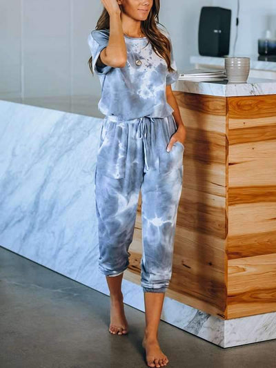 Round neck women Printed short sleeve gradient ramp jumpsuits