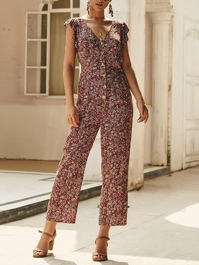 Summer floral casual straight pants  jumpsuits