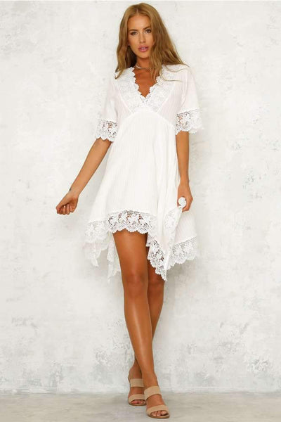 Sexy V neck Half sleeve Lace Shift Dresses