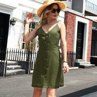Sexy V neck Lacing Backless Vest Shift Dresses
