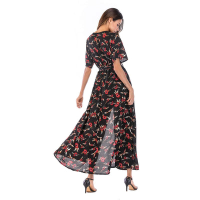 V neck Floral Short sleeve Maxi Dresses