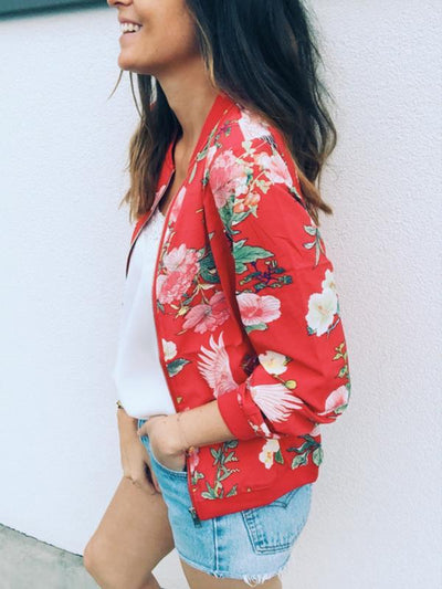 Stand up collar Women Floral Printed Jacket Blazer