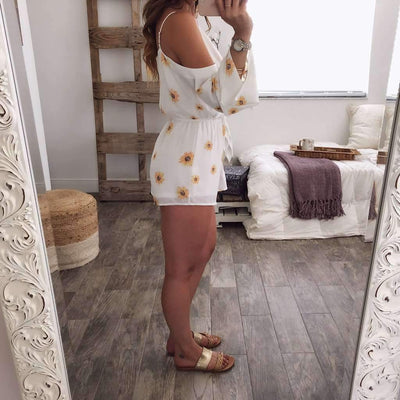 Fashion Off shoulder Vest Print Jumpsuits
