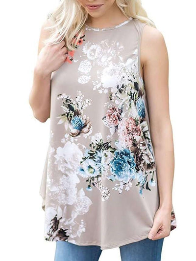 Fashion Floral Sleeveless Round neck T-Shirts