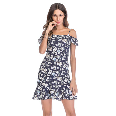 Off shoulder Floral print Vest Chiffon Shift Dresses