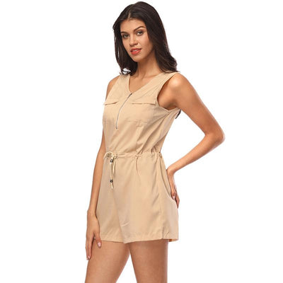 Zippered Waistband Sleeveless Jumpsuit