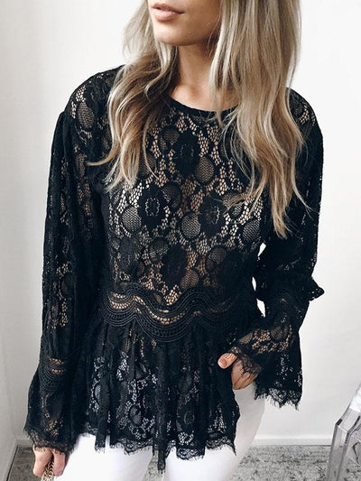 Sexy lace Round neck Long Sleeve T-shirt Top