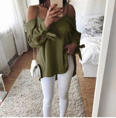 Sexy Sling V-Neck Loose Long-Sleeved Blouses