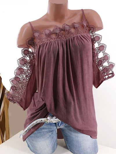 Lace Strap Off Shoulder Fashion Women Plain T-shirts