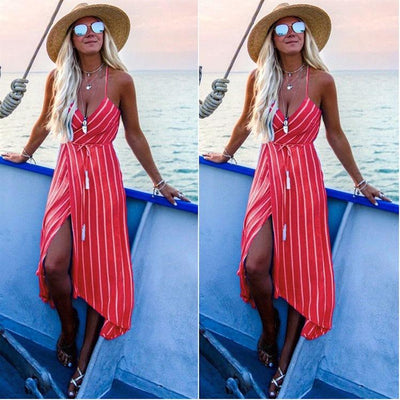 Fashion Floral Stripe Backless Irregular Vest Skater Dresses