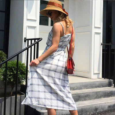 Casual V neck Vest Plaid Skater Dresses