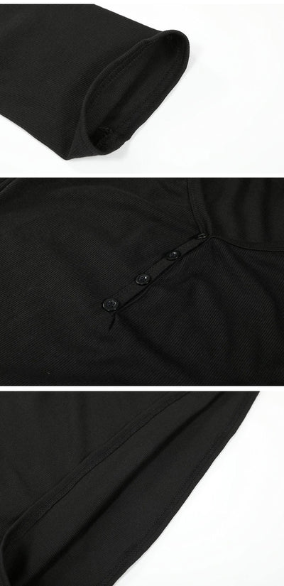 Sexy Deep V Collar Button Slim Fit T-Shirts