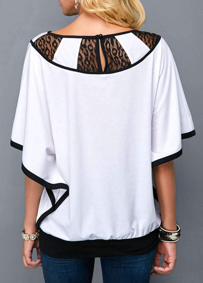 Lace Gored Batwing sleeve T-Shirts