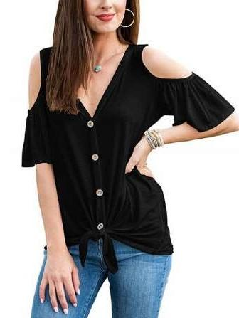 Pure Short sleeve Off shoulder Loose T-Shirts