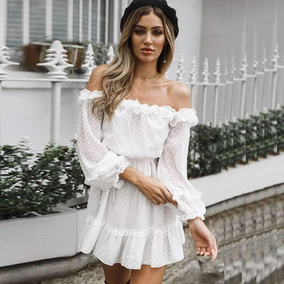 Fashion Off shoulder Point Lacing Skater Dresses