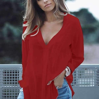 Loose V neck Long sleeve Blouses