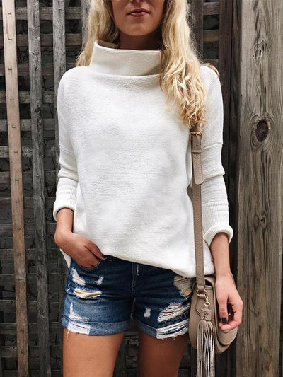 White Long Sleeve High Neck Women Warm Sweater
