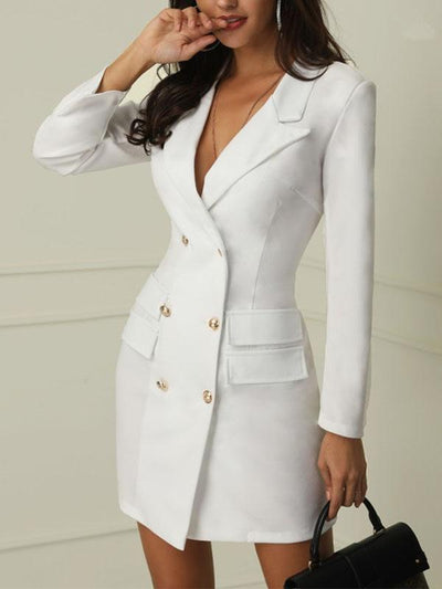 Chic Woman V-neck Double-breasted Blazer Dress