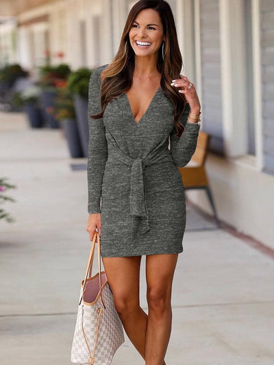 New Sexy Long sleeve V neck Bodycon Dresses