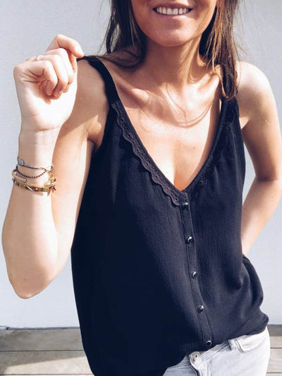 V Neck Sweet Strap Women Lace Two-wearing Vests