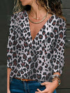 Loose leopard printed long sleeve blouses