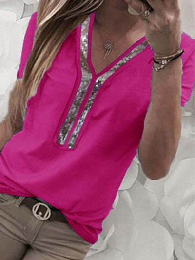 Solid color patchwork v-neck Decorative beaded  short sleeve T-shirt