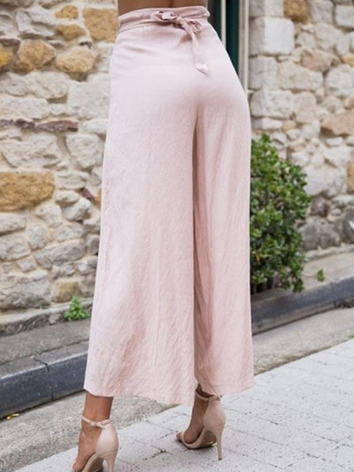 Loose Solid  high waist casual long pants