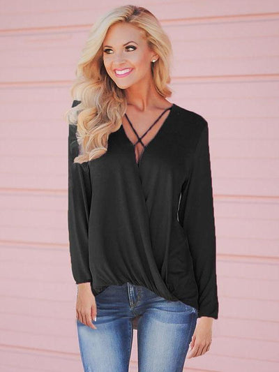 Long sleeve V neck Cross Loose Blouses