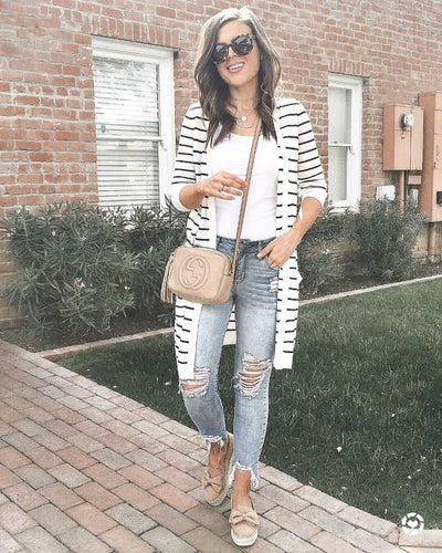Stripe Long sleeve  Cardigan Coats