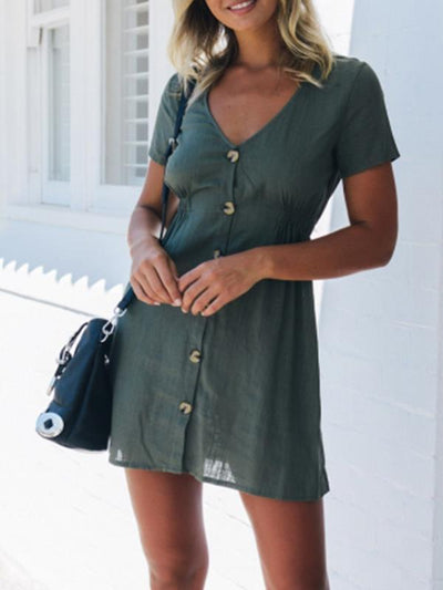 Sexy v-neck short sleeve button Skater Dresses