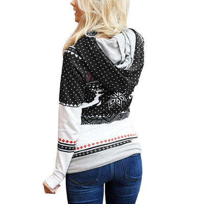 Fashion Zipper Floral  Christmas  Hoodies & Sweatshirts