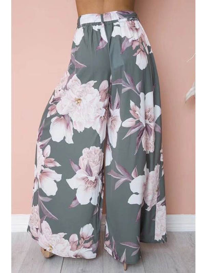 Print loose wide leg trousers for women Tie Waist Long Pants