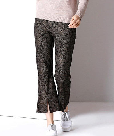 New Fashion Floral Vent High-waisted Nine-point trousers