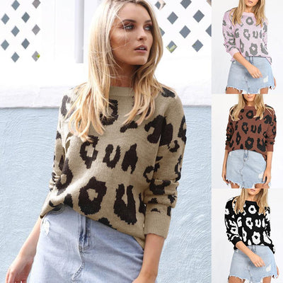 Fashion Leopard Print Loose Sweaters