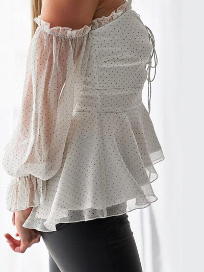 women chiffon polka dot halter sleeve Fashion Blouses