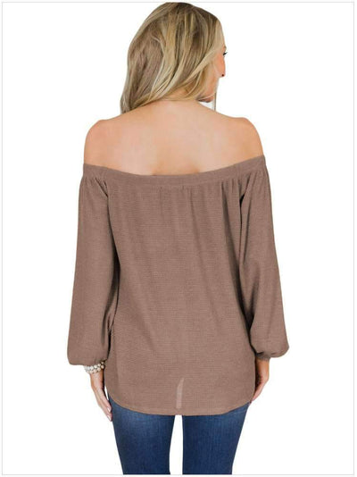 Off shoulder Pure Long sleeve T-Shirts