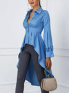Women Elegant Solid Lantern Sleeve Swallowtail Design Blouse