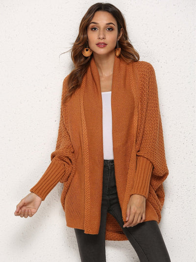 Fashion Asymmetric Hem Batwing Sleeve Cardigans