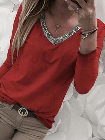 Solid Color V-neck Bling Long Sleeve Large Size T-shirt