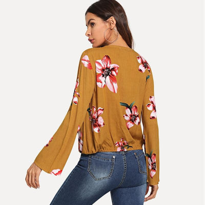 Fashion Floral  V neck Long sleeve Blouses