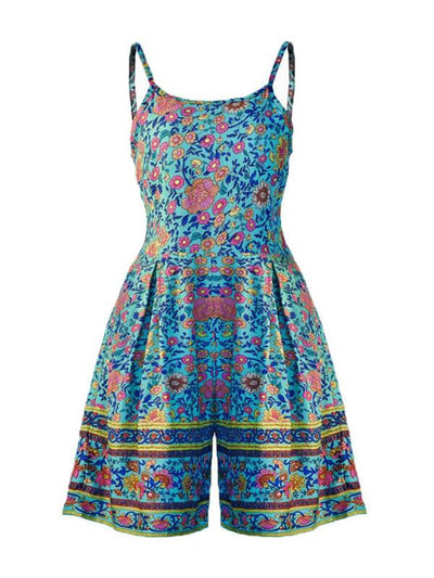 Stylish versatile printed strapless zip-up jumpsuit