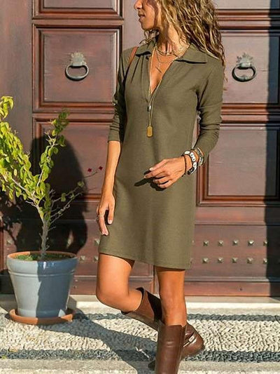Pure Lapel Long sleeve Shift Dresses