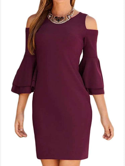 Fashion Pure Round neck Shift Dresses